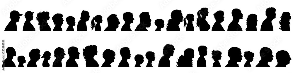 Fototapeta Vector silhouette of set of profile face of different people.