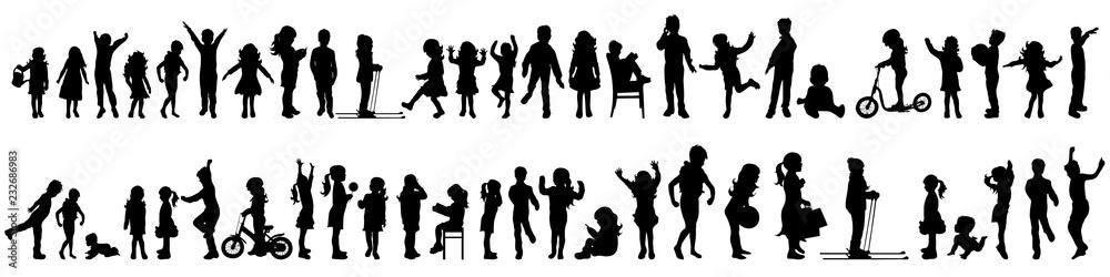 Fototapeta Vector silhouette of set of children.