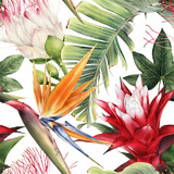 Seamless floral pattern with tropical flowers, watercolor. - 232686998