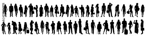 Obraz Vector silhouette of set of people. - fototapety do salonu