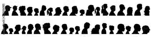 Vector silhouette of set of profile face of different people. Fototapet