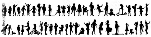 Obraz Vector silhouette of set of children. - fototapety do salonu