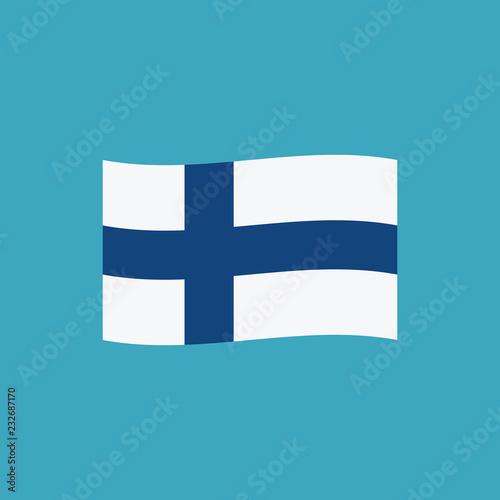 Fotografie, Obraz  Finland flag icon in flat design