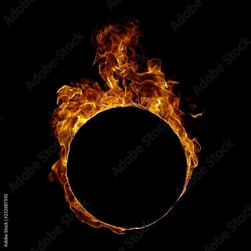 Fotobehang Vuur Ring fire in black