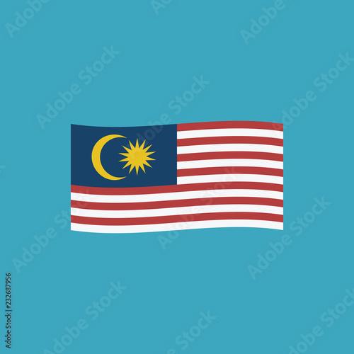 Fotografía  Malaysia flag icon in flat design