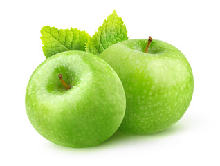 Isolated apple. Two green Granny Smith apples and leaf of mint isolated on white background with clipping path