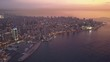 Aerial Panoramic Footage of Beirut, Lebanon, in a beautiful golden hour sunset