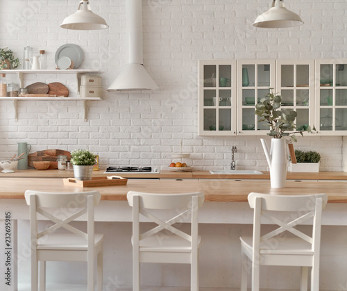 Kitchen table with kitchen chairs. Kitchen background. - Buy ...