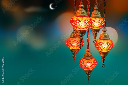 Fotografie, Obraz  Ramadan kareem poster, celebration lamp lantern