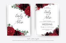 Wedding Vector Floral Invite, Invitation Save The Date Card  Modern Design: Garden Red Rose Flower, Burgundy Dahlia, Eucalyptus Greenery Branches & Berries Frame, Border. Bohemian Stylish Template Set