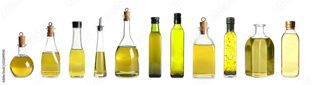 Fototapety, obrazy: Set with bottles of oil on white background