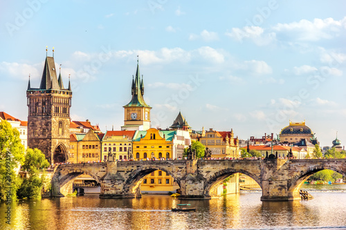 Charles Bridge, Prague towers and the National Theatre, summer d