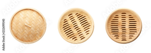Photo  Set with bamboo steamer on white background, top view