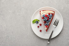 Plate With Piece Of Delicious Homemade Red Velvet Cake And Space For Text On Table, Top View