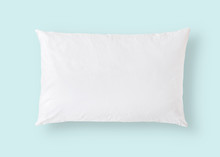 White Pillow On Blue Backgroun...