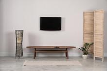 Modern TV Set Mounted On Wall ...