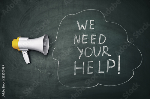 Fotografía Phrase We need your help and loudspeaker on chalkboard