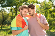 Happy Gay Couple With Rainbow ...