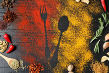 Different Spices With Cutlery Silhouettes On Wooden Background, Flat Lay