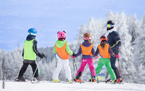 fototapeta na lodówkę Ski school on mountain peak