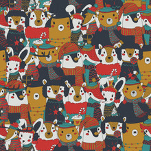 Raster Vintage Christmas Seamless Pattern With Festive Animals Wearing Warm Winter Clothes. Retro Xmas Repeating Background. Rusty And Old Christmas Wrapping Paper With Bunch Of Animal Portraits.