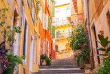 Fototapeta Uliczki - colorful buildings in Nice on french riviera, cote d'azur, southern France