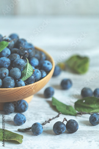 Vászonkép Autumn harvest blue sloe berries on a light wooden table background