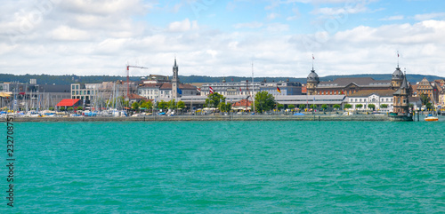 Poster Turquie Germany-view on the town Constance from ferry on Lake . Wide photo.