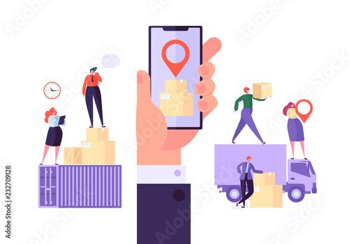 Fotografía  Online Cargo Delivery Mobile App Tracking Service