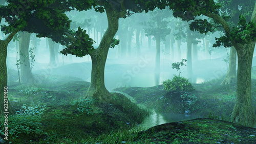 Plakaty Fantasy magical-and-foggy-fantasy-forest-with-ponds