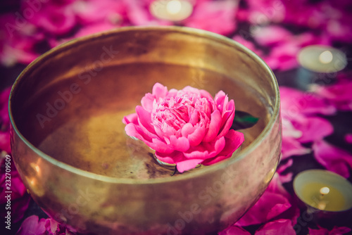 Tibetan singing bowl with floating inside in water pink peony flower Fototapete