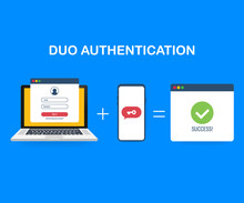 Duo Authentication Concept Banner With Text Place. Can Use For Web Banner, Infographics, Hero Images. Vector Illustration.