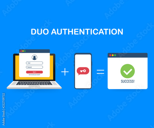 Duo authentication concept banner with text place Canvas Print