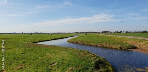 Photo green meadows with ditch with water in the polder at Oude Ade in The Netherlands