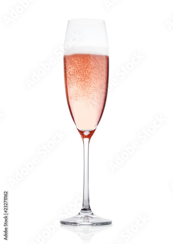 Rose pink champagne glass with bubbles isolated