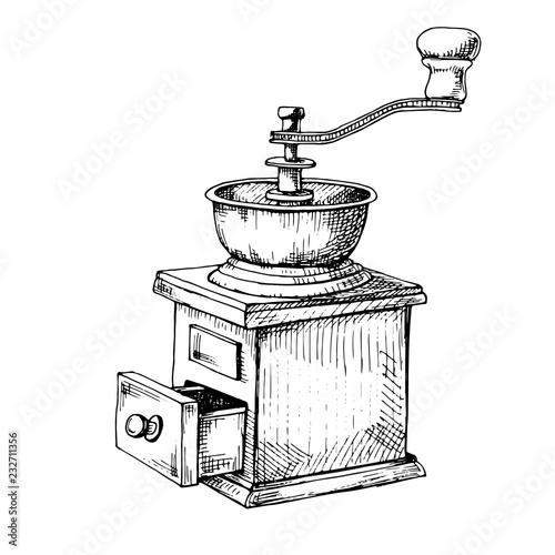 Retro manual coffee grinder or mill sketch in vintage style. Fototapeta