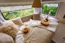 Inside The Camper Van. Unfille...