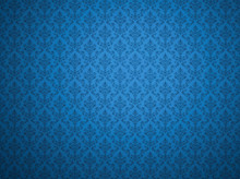 Blue Wallpaper With Damask Pat...