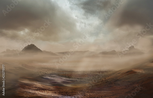 Carta da parati Fantasy desert landscape with sandy storm and strom clouds