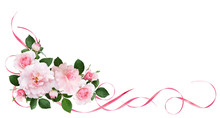 Pink Rose Flowers, Satin Ribbons And Glitter Confetti In A Floral Corner Arrangement