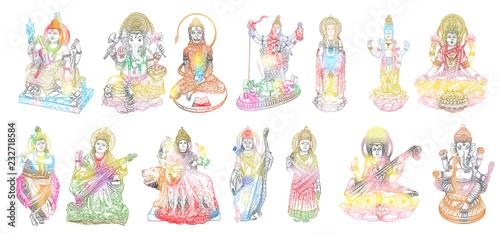 Fotografie, Obraz Set of Gods for Indian festival, Goddess Durga, Lord Rama and Hanuman