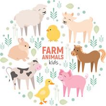 Cute Farm Animals Cow, Pig, La...