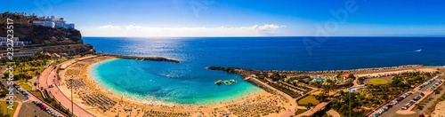 Spoed Foto op Canvas Canarische Eilanden Aerial panorama view of the Amadores beach on the island of Gran Canaria, Spain.
