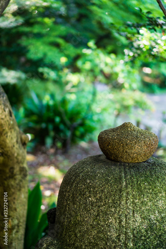 Photo  Stone lantern Japanese garden in autumn