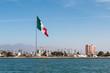 The skyline of Ensenada Harbor as seen from the ocean in Ensenada, Baja California, Mexico.