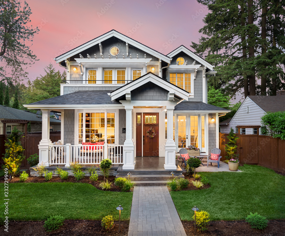 Fototapety, obrazy: Beautiful Home Exterior at Sunset with Colorful Sky