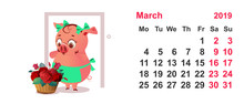 Pig Housewife In Apron And Basket Of Flowers As Gift. Calendar Grid March 2019 Year
