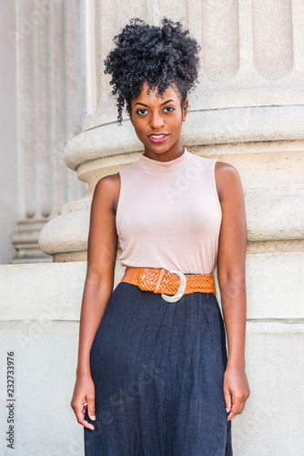 Portrait Of Young Beautiful African American Woman In New York With