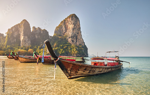 Tuinposter Asia land Long tail boats in Thailand