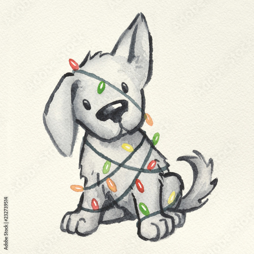 Cute Christmas Drawings.Cute Puppy Dog Wrapped In Christmas Tree Lights Hand